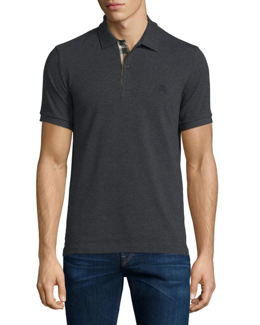 Burberry Brit Short Sleeve Oxford Polo Shirt In Black For