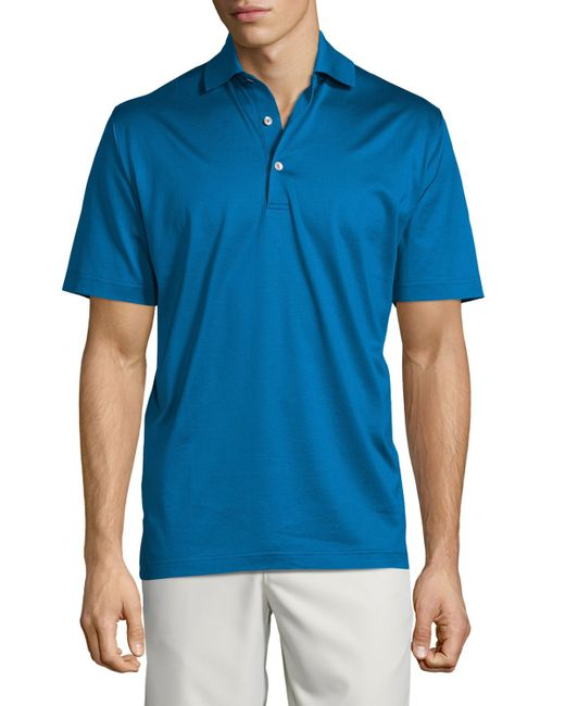 Peter millar solid lisle knit cotton polo shirt in blue for Peter millar polo shirts