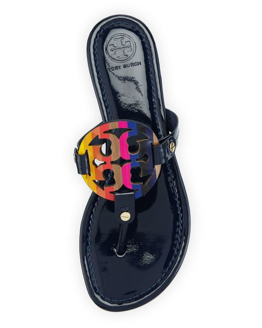 Tory Burch Miller Rainbow Patent Leather Logo Sandals In
