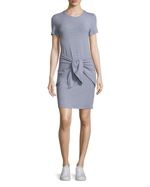 Theory Dakui Narrow Tie Front T Shirt Dress In Gray
