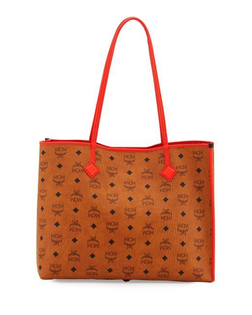 mcm kira medium visetos shopper shoulder tote bag in black. Black Bedroom Furniture Sets. Home Design Ideas