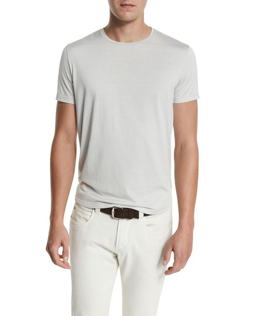 Loro piana silk cotton jersey t shirt in gray for men lyst for Cotton silk tee shirts