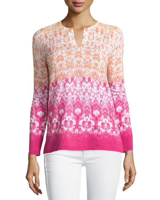 Belford Hibiscus Print Ombre Sweater In Multicolor Lyst