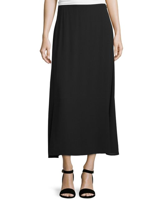 eileen fisher a line crepe maxi skirt in black lyst
