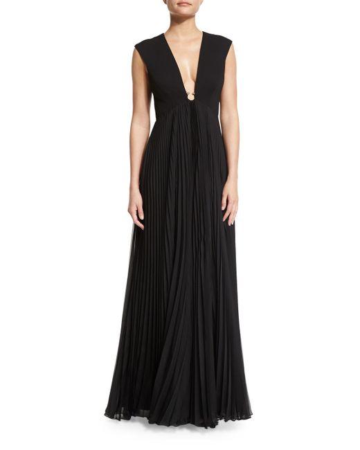 Halston | Black Cap-sleeve V-neck Plisse Gown | Lyst