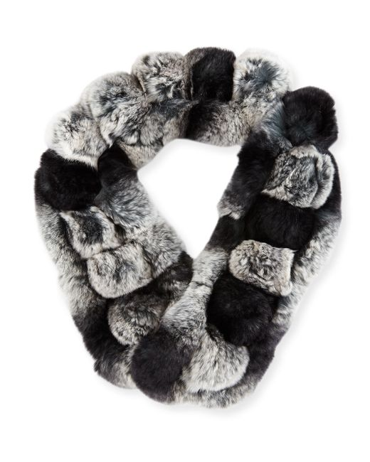 Belle Fare | Gray Rex Rabbit Fur Pompom Neck Warmer | Lyst