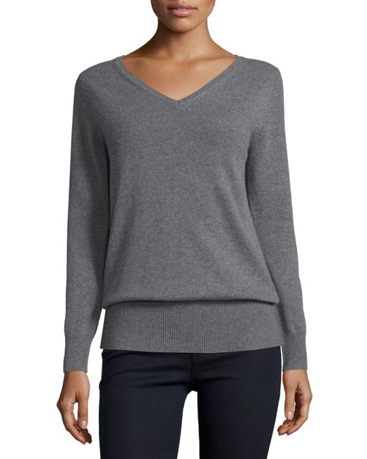 Neiman Marcus | Gray Long-Sleeved V-neck Relaxed-fit Cashmere Sweater | Lyst