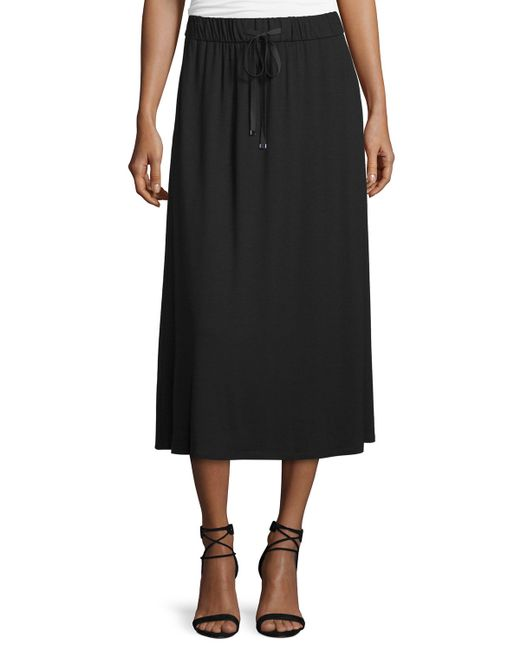 eileen fisher drawstring a line jersey skirt in black lyst