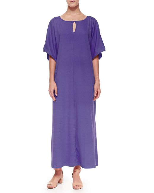 Joan Vass | Purple Keyhole-front Long Dolman Dress | Lyst