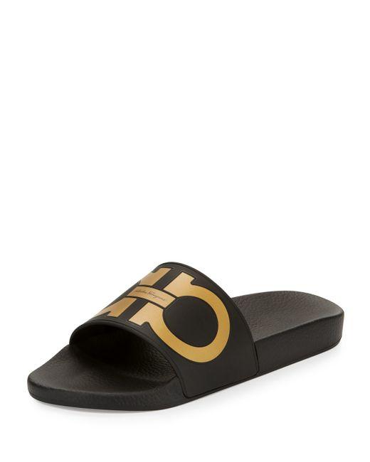 Ferragamo Groove Gancini Slide Sandal In Black For Men