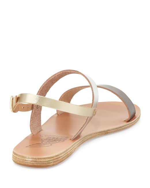 ancient greek sandals clio double band flat slingback sandal in brown lyst. Black Bedroom Furniture Sets. Home Design Ideas