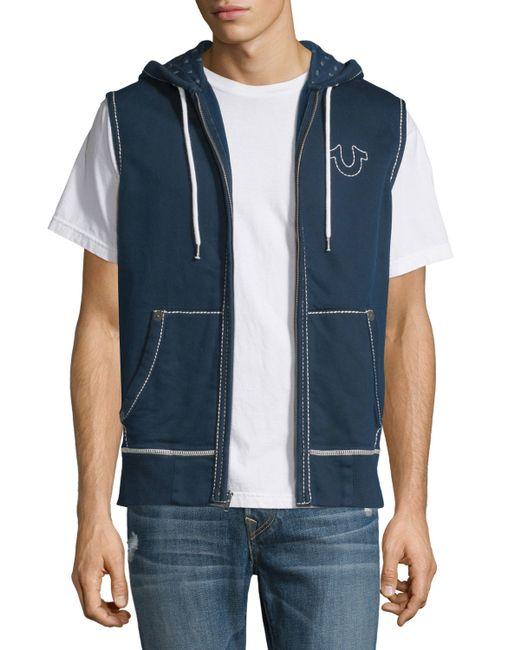true religion contraststitch sleeveless hoodie in blue
