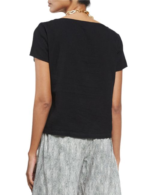 Eileen fisher organic cotton short sleeve top in black lyst for Eileen fisher organic cotton t shirt