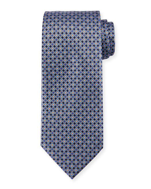 Ermenegildo Zegna   Blue Medallion-print Neat Silk Tie for Men   Lyst