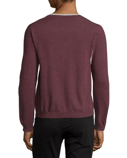 just cavalli long sleeve v neck wool sweater in purple for men lyst. Black Bedroom Furniture Sets. Home Design Ideas