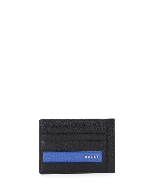 Bally Colorblock Leather Business Card Case in Blue for