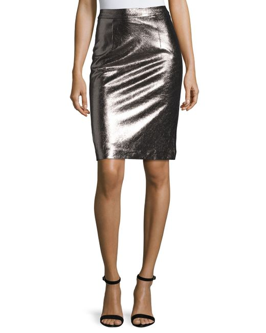 milly metallic leather pencil skirt in metallic lyst