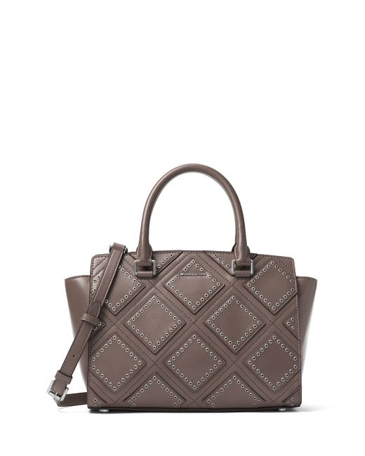 michael michael kors selma medium diamond grommet satchel bag in gray lyst. Black Bedroom Furniture Sets. Home Design Ideas