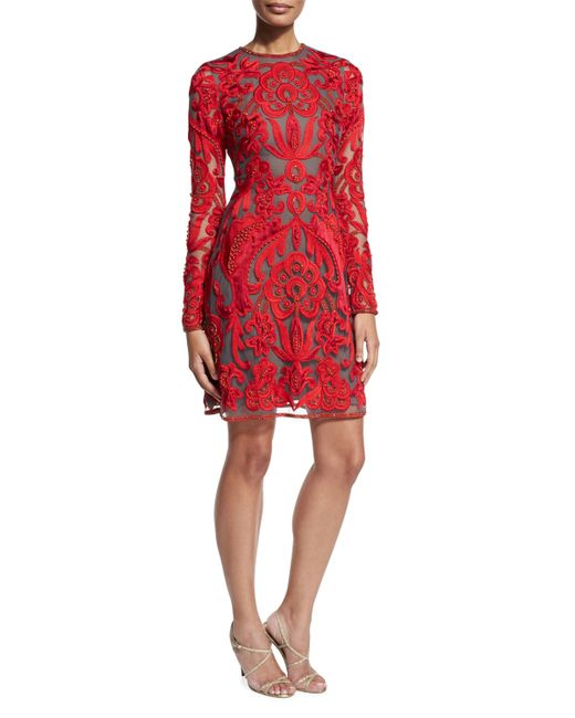 Naeem Khan | Red Lace Long-sleeve A-line Cocktail Dress | Lyst