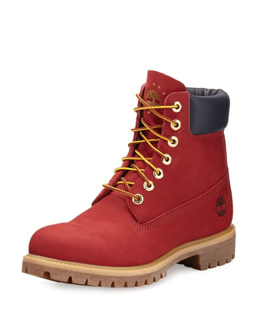 "Timberland 6"" Premium Waterproof Hiking Boot in Red for ..."
