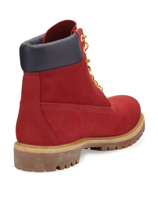 """Timberland 6"""" Premium Waterproof Hiking Boot in Red for Men   Lyst"""