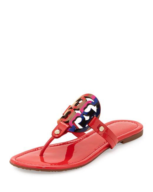 Tory Burch Miller Rainbow Logo Flat Sandal In Red