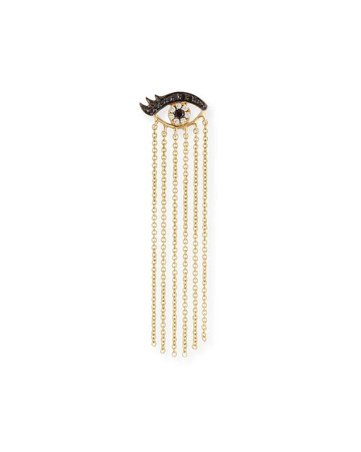 Sydney Evan | Metallic 14k Long Fringe Lash Stud Earring With Diamonds | Lyst