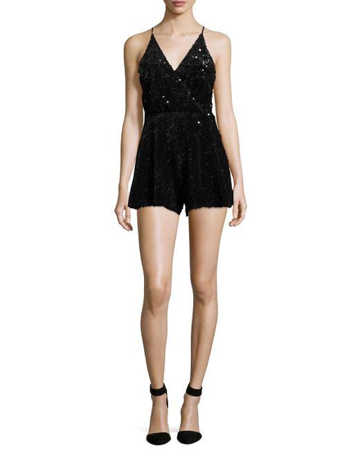 Kendall + kylie Sequined Velvet Strappy Romper in Black