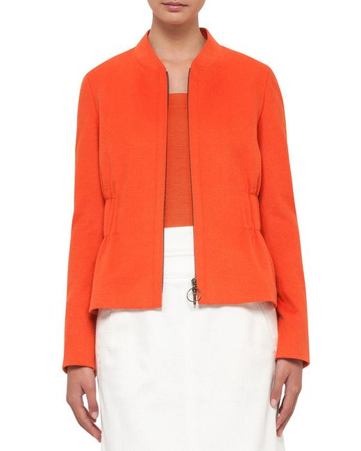 Akris Punto | Orange Gathered-waist Zip-front Jacket | Lyst