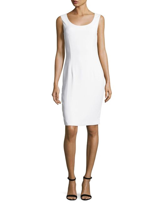 St. John | White Classic Cady Scoop-neck Dress | Lyst