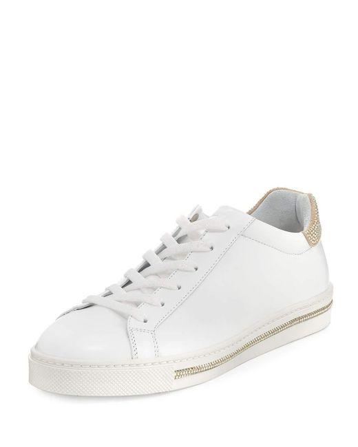 Rene Caovilla | White Crystal-trim Low-top Sneaker for Men | Lyst