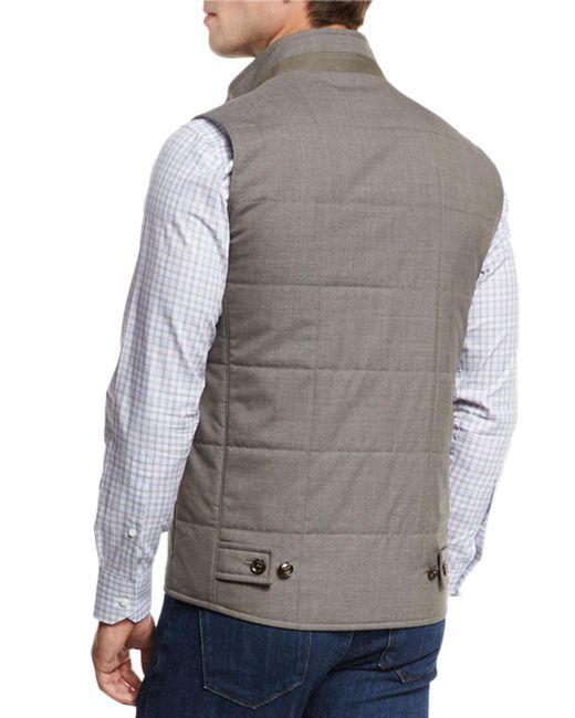 Peter Millar Caravan Quilted Wool Vest In Brown For Men Lyst