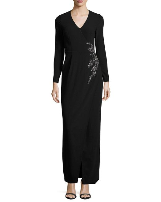 David Meister | Black Long-sleeve Embellished Faux-wrap Gown | Lyst