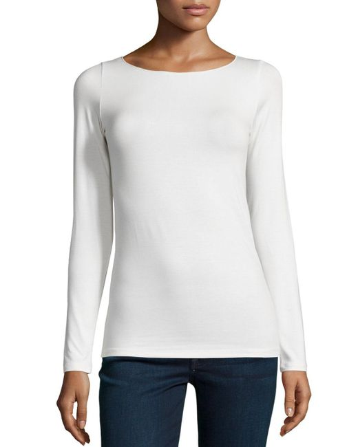 Neiman Marcus | White Soft Touch Marrow-edge Long-sleeve Top | Lyst