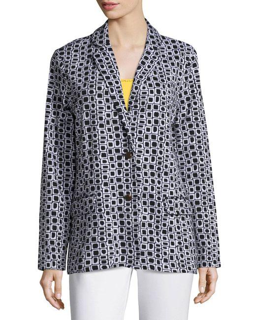 Joan Vass   Black Geometric Jacquard Interlock Jacket   Lyst