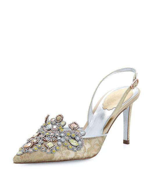 Rene Caovilla | Metallic Jeweled Lace & Snakeskin Slingback 75mm Pump | Lyst