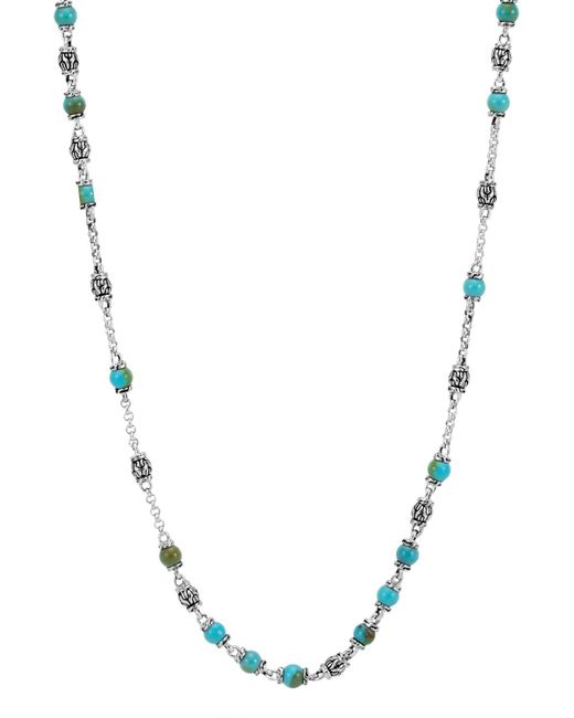 John Hardy Metallic Men's Classic Chain Silver & Turquoise Bead Necklace, Blue/black for men