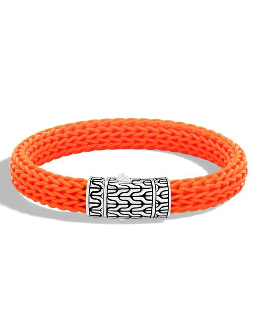 John Hardy | Orange Men's Classic Chain Rubber Push-clasp Bracelet for Men | Lyst