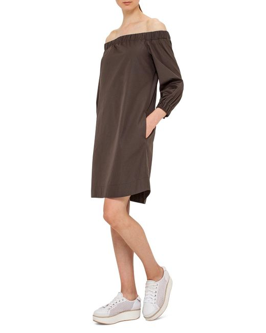 Akris Punto   Green Off-the-shoulder Cotton Shift Dress   Lyst