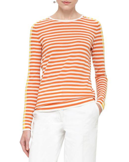Akris Punto | Orange Striped Crewneck Pullover Sweater | Lyst