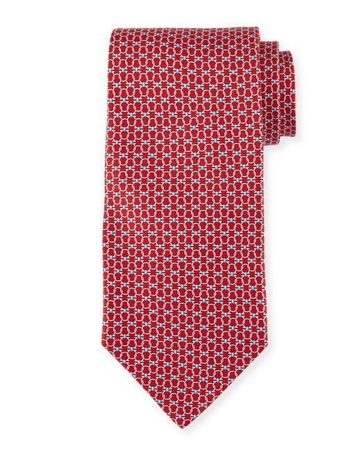 Ferragamo | Red Interlocking Gancini-print Silk Tie for Men | Lyst
