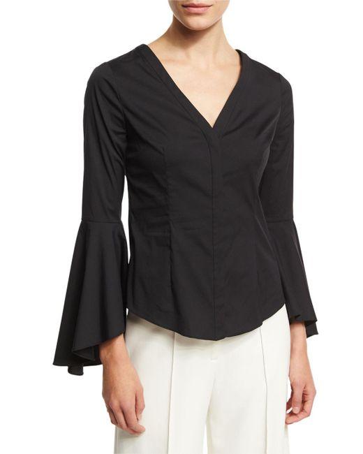 MILLY | Black Sofia Bell-sleeve V-neck Poplin Blouse | Lyst