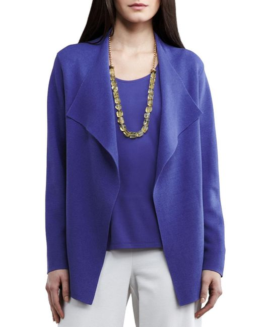 Eileen Fisher | Blue Silk-interlock Cascade Jacket | Lyst