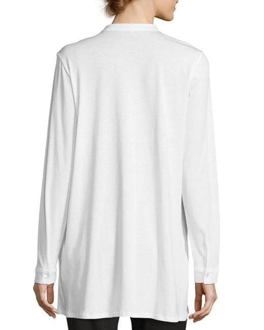 Eileen Fisher   White Mandarin-collar Easy Organic Jersey Tunic   Lyst