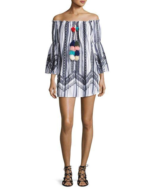Red Carter | Blue Rio Striped Off-the-shoulder Tassel-trim Mini Dress | Lyst