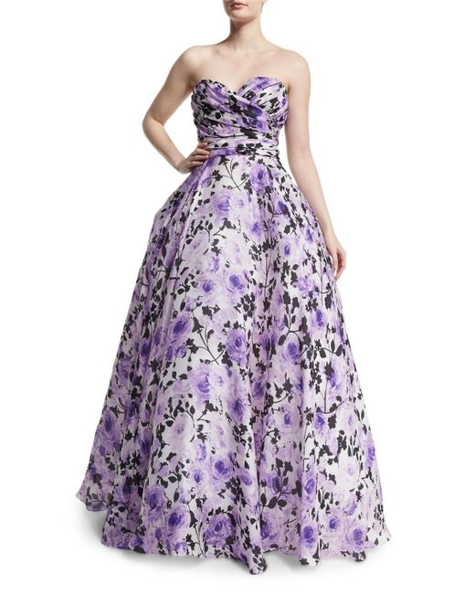 Naeem Khan | White Sweetheart-neck Strapless Floral-print Gown | Lyst
