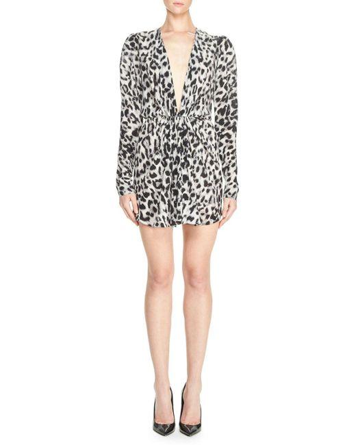 Saint Laurent | Black Leopard-print Crepe De Chine Dress | Lyst