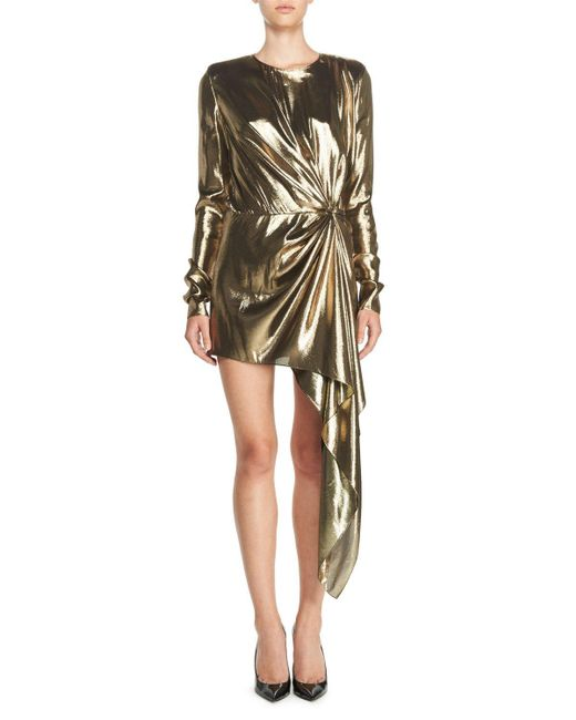 Saint Laurent | Metallic Long-sleeve Lamé Mini Dress | Lyst