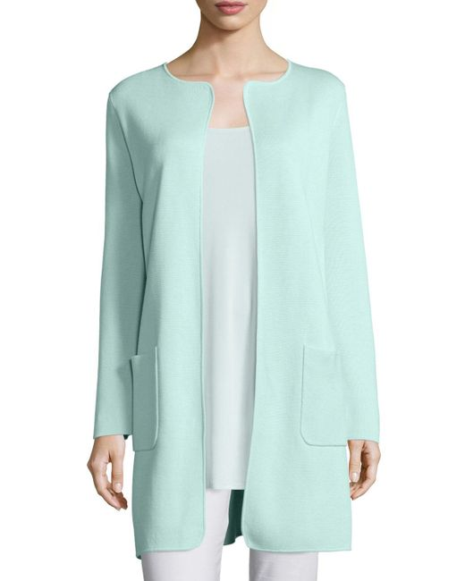 Eileen Fisher | Blue Silk Cotton Interlock Long Jacket | Lyst