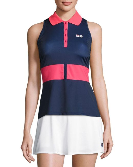 Fila   Red Mb Court Central Sleeveless Polo Shirt   Lyst